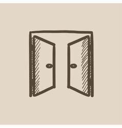 Open doors sketch icon vector