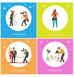 Photographer taking picture of just married couple vector