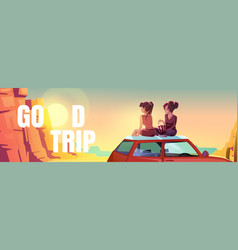poster with girls sitting on car roof in desert vector image