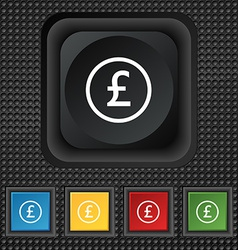 Pound sterling icon sign symbol Squared colourful vector image