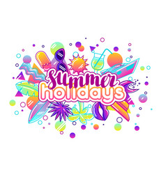 Print with stylized summer objects abstract vector