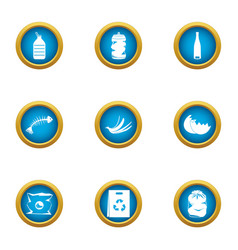 Production garbage icons set flat style vector