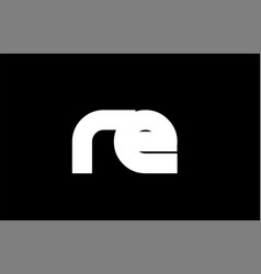 Re r e black white bold joint letter logo vector