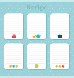 recipe cards set cooking card templates vector image