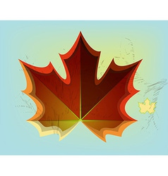 Red maple leaf on blue background vector image