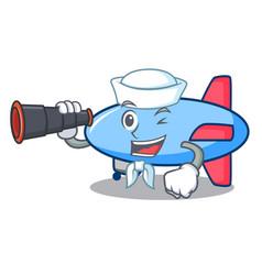 Sailor with binocular zeppelin mascot cartoon vector