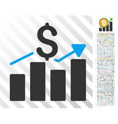 sales bar chart flat icon with bonus vector image