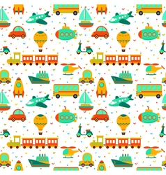 Seamless pattern with colorful cartoon transport vector
