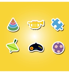 set of color icons with toys vector image