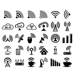 Set of thirty wifi icons vector image