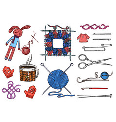 Set tools for knitting or crochet and materials or vector