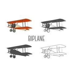 set vintage aircraft design elements retro vector image