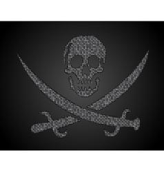Silver sequins skull Jolly Roger vector