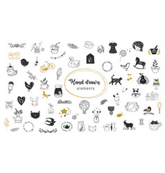 Simple hand drawn doodles collection vector