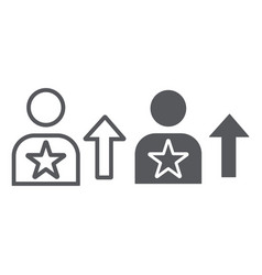 skill line and glyph icon employee and rating vector image
