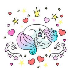 sleeping little unicorn for web vector image