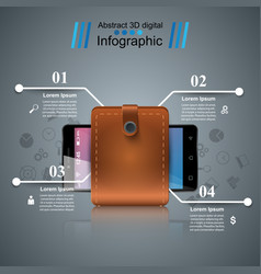 smartphone wallet cash - business infographic vector image