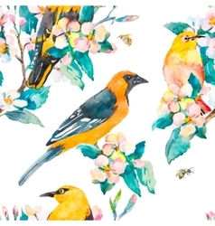 Spring pattern Flowering branch Oriole and White vector