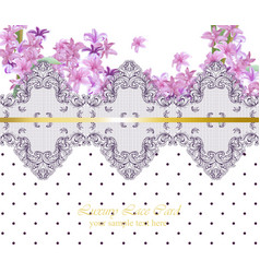 summer flowers blossom lace card frame spring vector image