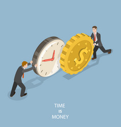 time is money flat isometric concept vector image