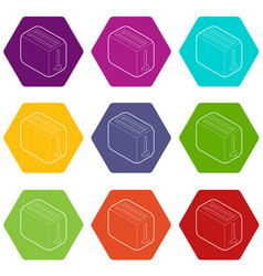 toaster icons set 9 vector image