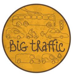 transport traffic doodle emblem vector image