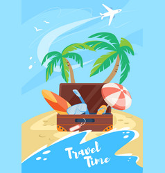 travel time vertical banner summertime vacation vector image