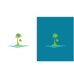 tree palm wave logo vector image