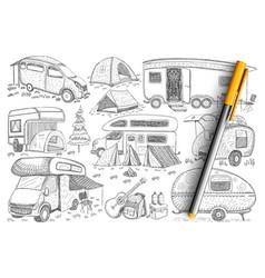 Trucks for travelling doodle set vector