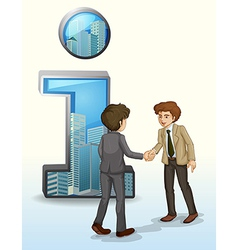 Two businessmen in front of the number one symbol vector