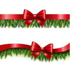 Two red ribbon and fir tree vector