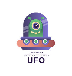 Ufo logo original design badge with flying saucer vector