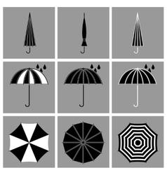 Umbrella black icons vector