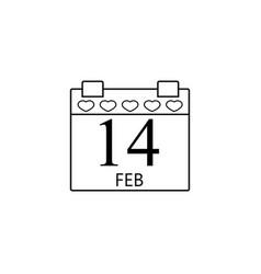 valentines calendar line icon valentines day vector image