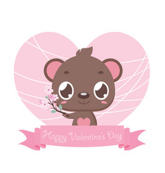 valentines day greeting with cute bear vector image