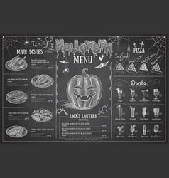 Vintage chalk drawing halloween menu design vector