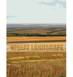 wheat landscape background autumn fall vector image