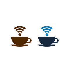 Wifi coffee icons design coffee cups isolated vector
