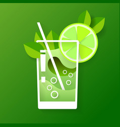 with glass of mojito in flat design vector image