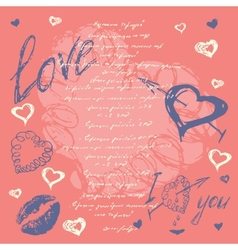 Doodle Valentines day postcard with hand drawn vector image