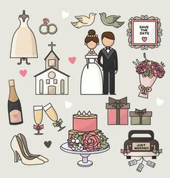 set of cartoon doodle wedding vector image vector image