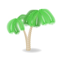 Two bend palm trees vector image