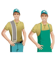 Worker wearing blue apron vector image