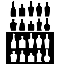 black and white bottles vector image