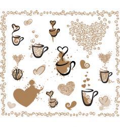 coffee set hearts vector image