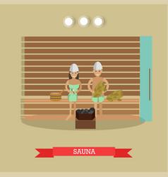 spa procedure sauna concept in vector image vector image