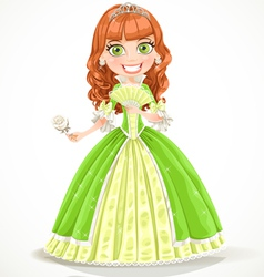 Beautiful princess with brown hair in green dress vector