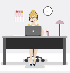 female office worker with laptop and headphones vector image