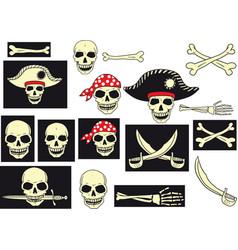 pirates skull set vector image