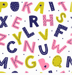 seamless pattern with letters in doodle style vector image